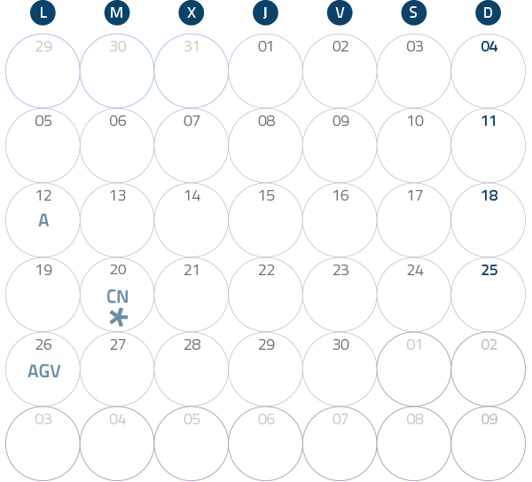 Calendario del Territorio Común. Septiembre