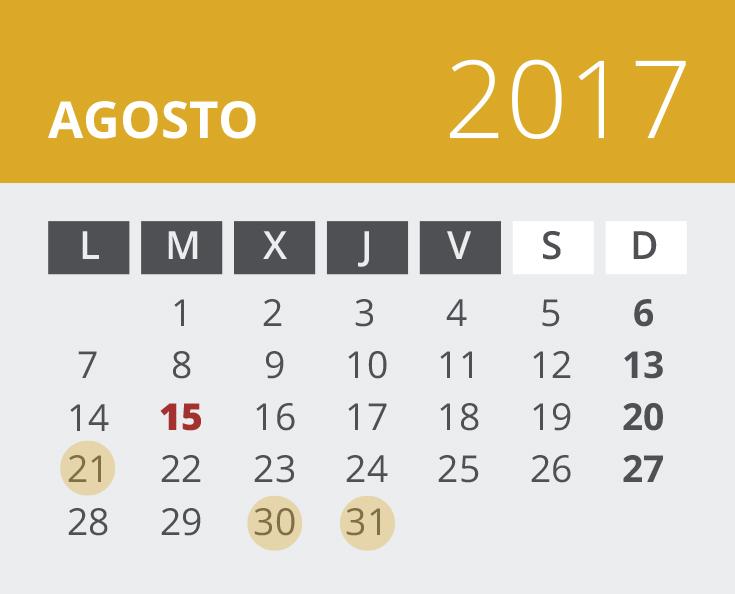 Calendario del Territorio Común. Agosto