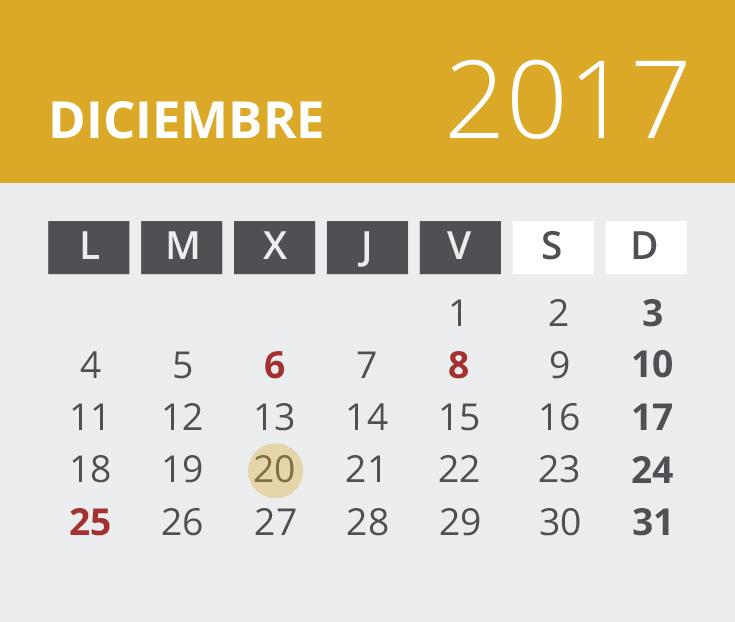 Calendario del Territorio Común. Diciembre