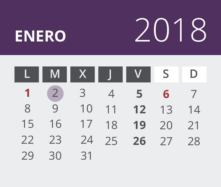Calendario del Territorio Común. Enero