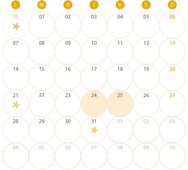 Calendario del Territorio Común. Marzo