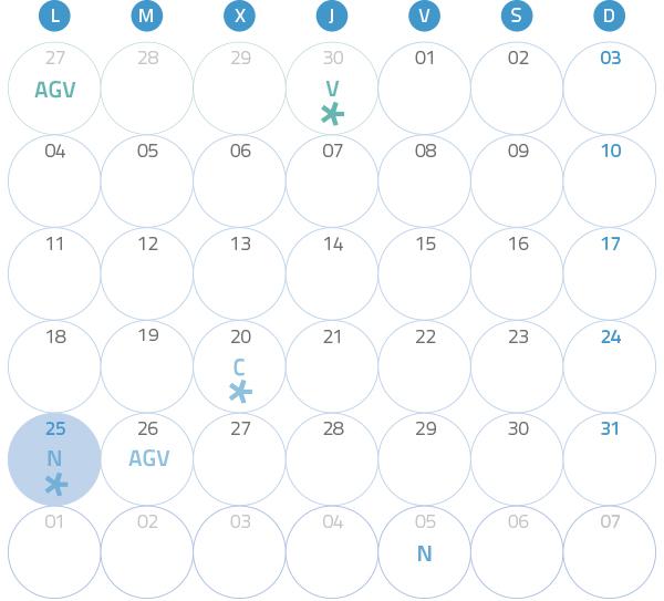 Calendario del Territorio Común. julio